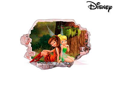 Vinil de Parede 3D Disney | Sininho e Roseta