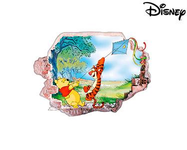 Vinil de Parede 3D Disney | Ursinho Puff com o Papagaio