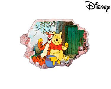 Vinil de Parede 3D Disney | Ursinho Puff e Tigrão