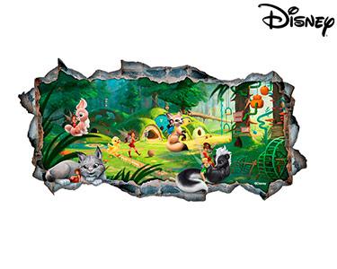 Vinil de Parede 3D Disney   As Fadas e os Animais