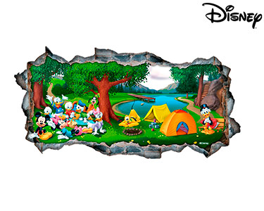 Vinil de Parede 3D Disney | Família Mickey, Acampamento!