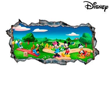 Vinil de Parede 3D Disney | Mickey e os Amigos no Parque