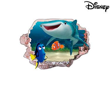 Vinil de Parede 3D Disney | Dóris, Nemo e Destiny