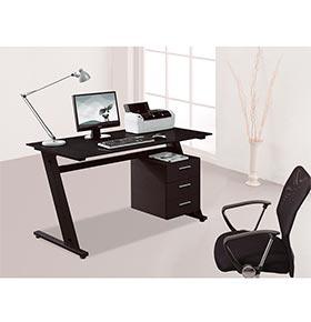 Mesa de Computador com Tampo de Vidro + 3 Gavetas | Preto