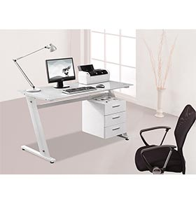 Mesa de Computador com Tampo de Vidro + 3 Gavetas | Branco