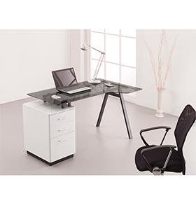 Mesa de Computador com Tampo de Vidro + 2 Gavetas + 1 Gavetão