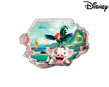 Vinil de Parede 3D Disney | Moana, Os Amigos