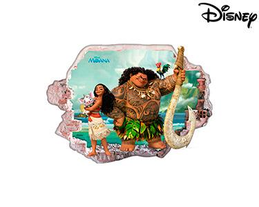 Vinil de Parede 3D Disney | Moana, Maui e Amigos