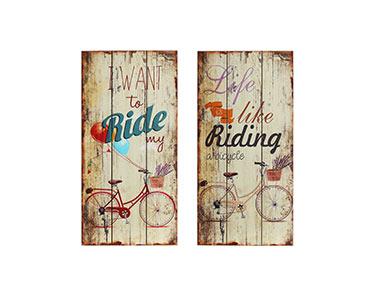 2 Placas de Parede   Tema Bicicleta