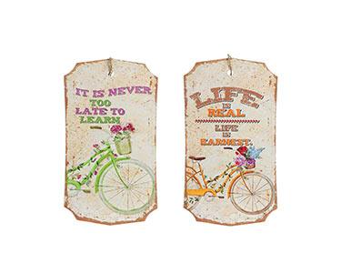 2 Placas de Parede Octogonal   Tema Bicicleta