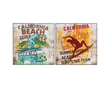 2 Placas de Parede | Tema California Surf