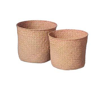 2 Cestos Redondos Decorativos | Rosa