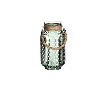 Pote de Vidro Verde Decorativo Médio