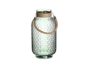 Pote de Vidro Verde Decorativo Alto
