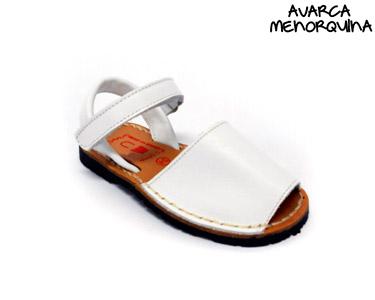 Avarca Menorquina® em Pele c/ Velcro Baby | Branco