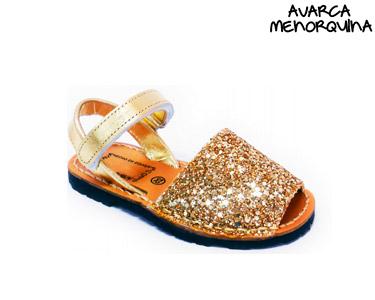 Avarca Menorquina® em Pele Kids | Champagne c/ Brilho