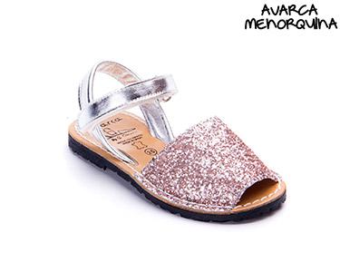 Avarca Menorquina® em Pele Baby | Rosa c/ Brilho