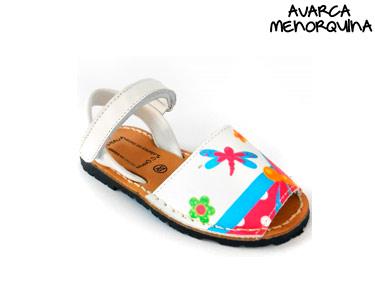 Avarca Menorquina® em Pele Kids | Branco c/ Borboletas
