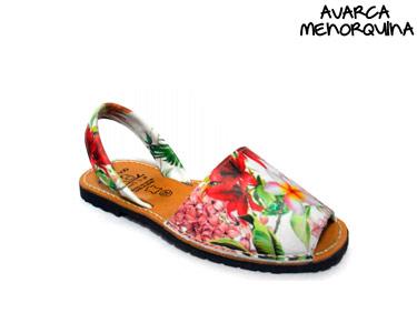 Avarca Menorquina® em Pele   Padrão Floral
