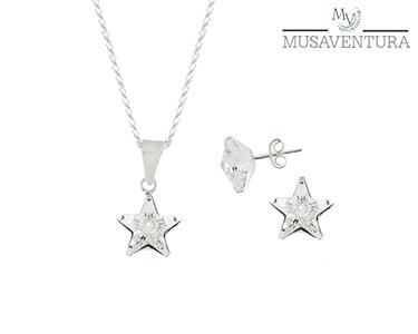 Conjunto Colar & Brincos Estrela Prata de Lei c/ Swarovski Elements®