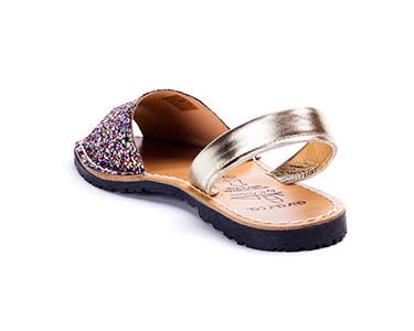 Sandálias Menorquina® em Pele Kids | Multicolor c/ Brilho