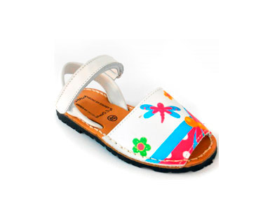 Sandálias Menorquina® em Pele Kids | Branco c/ Borboletas