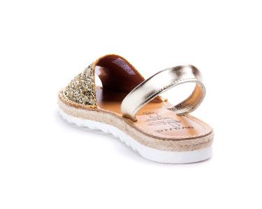 Sandálias Menorquina® em Corda com Plataforma | Champagne c/ Brilho