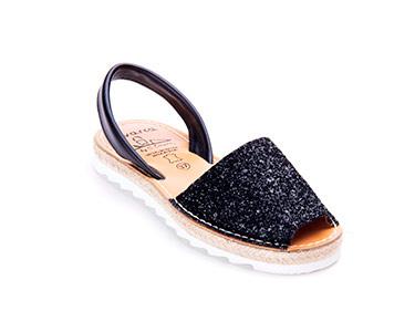 Sandálias Menorquina® em Corda com Plataforma | Preto c/ Brilho