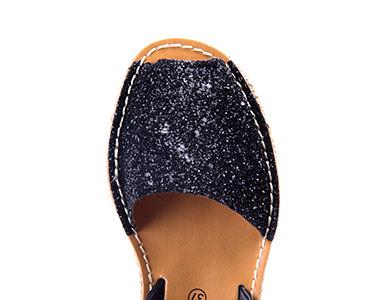Sandálias Menorquina® em Corda com Plataforma   Preto c/ Brilho