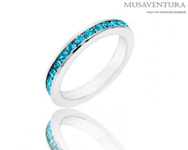 Anéis c/ Swarovski Elements® Banhados a Ouro Branco | Azul