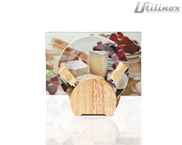 Conjunto para Queijos | Tábua de Vidro + 4 Pratos + 2 Utensílios