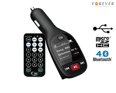 Transmissor 4 em 1 para Carro | Bluetooth, Leitor MicroSD, Carregador USB e Mãos Livres