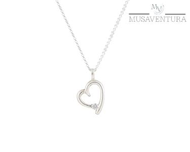 Colar de Prata de Lei Coração | Swarovski Zirconia®