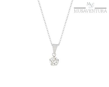 Colar de Prata de Lei c/ Pedra Diamante | Swarovski Zirconia®