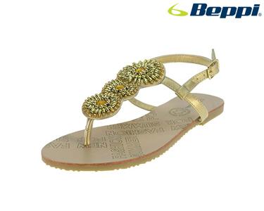 Sandálias Casuais Beppi®   Dourado com Flores