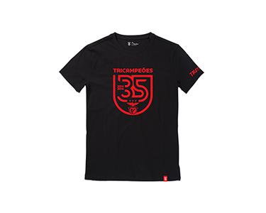 T-Shirt Tricampeão Preta com Escudo  | Escolha o Tamanho