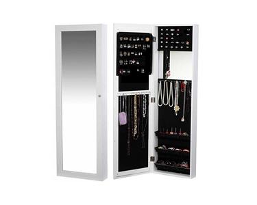 Espelho Guarda Jóias de Parede ou Porta   Branco