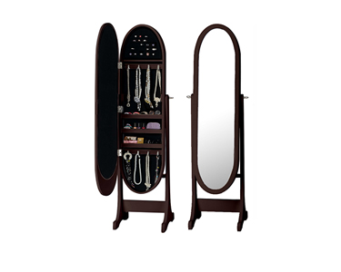 Espelho Guarda Jóias Oval   Castanho