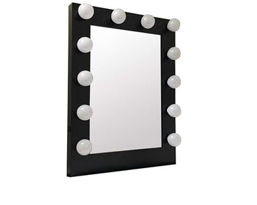 Espelho de Camarim com 12 Lâmpadas | Preto