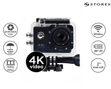 Câmera de Acção Desportiva 4K c/ Wifi e 6 Acessórios