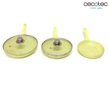 Conjunto de Frigideiras Amarelas em Granito + Tampas | Cecotec®