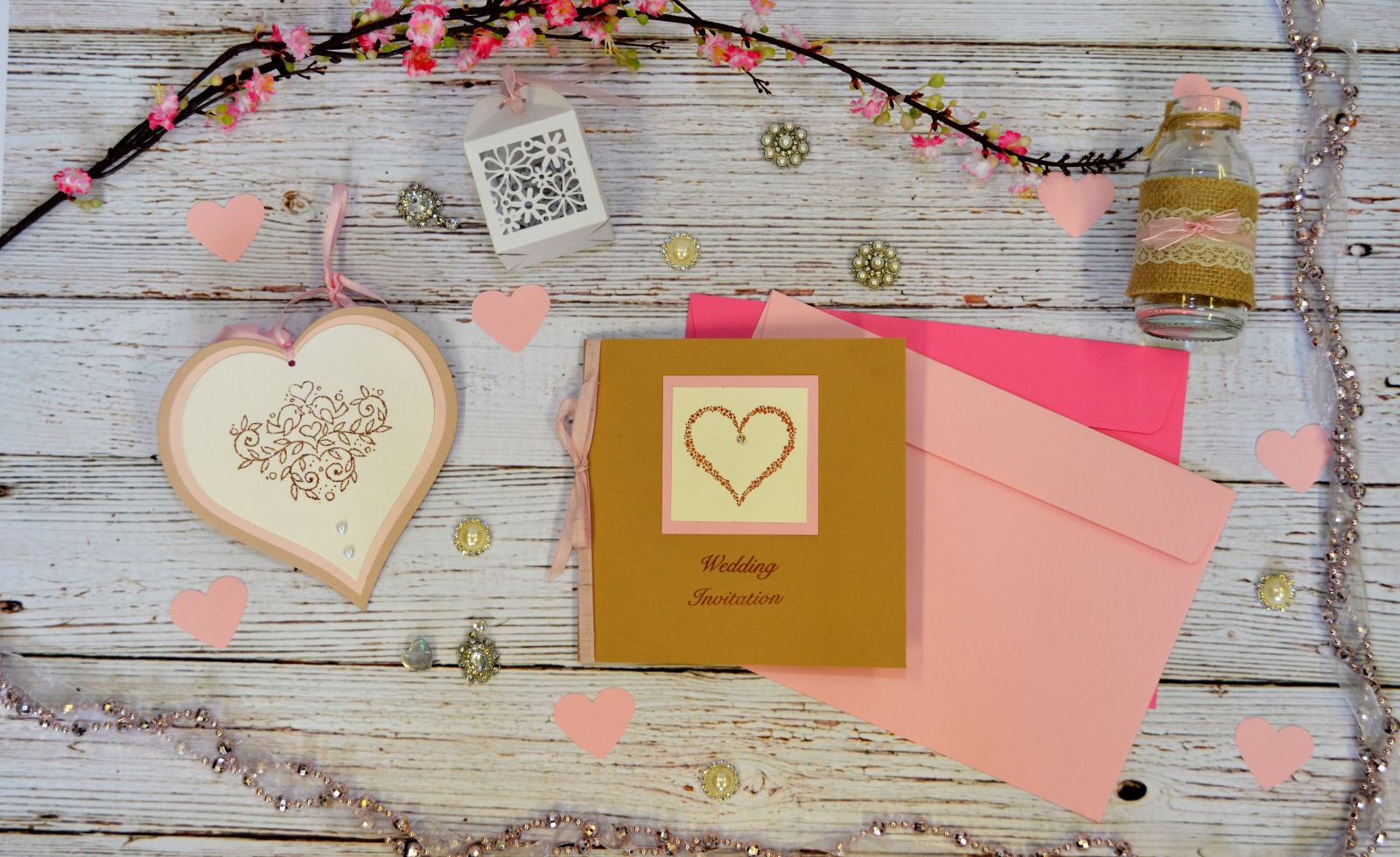Papermilldirect Wedding Stamps Flat Lay Pink