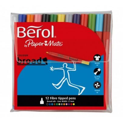 Berol Colour Broad Pens Assorted S0375990 Pack Of 12