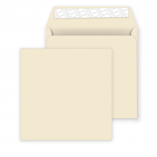 Square Peel and Seal Envelopes - 155mm x 155mm - Clotted Cream
