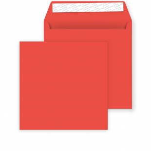 Square Pillar Box Red Peel and Seal Envelopes 120gsm (155mm x 155mm)