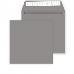 Square Storm Grey Peel and Seal Envelopes 120gsm (155mm x 155mm)