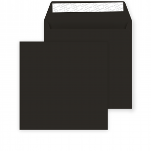 Square Peel and Seal Envelope - 155mm x 155mm - Jet Black