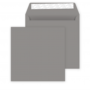 Square Storm Grey Peel and Seal Envelopes 120gsm (160mm x 160mm)