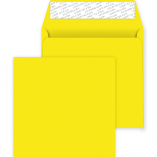 Square Peel and Seal Envelopes - 220mm x 220mm - Banana Yellow