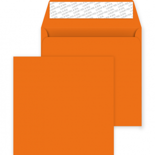Square Peel and Seal Envelopes - 220mm x 220mm - Pumpkin Orange